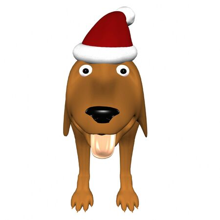 Dog in christmas hat on white background Stock Photo