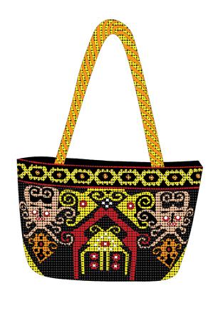 Die Sling Beads Bag Sarawak werden in liebevoller Handarbeit vom Dayak-Stamm aus dem malaysischen Borneo entworfen und hergestellt. Fügen Sie mit dem lebendigen Stammesmotiv einen Spritzer Farbe und Persönlichkeit hinzu. Vektorgrafik