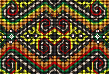 Die Sarawak Beads werden in liebevoller Handarbeit hergestellt und vom Dayak-Stamm aus dem malaysischen Borneo entworfen. Fügen Sie mit dem lebendigen Stammesmotiv einen Spritzer Farbe und Persönlichkeit hinzu. Vektorgrafik