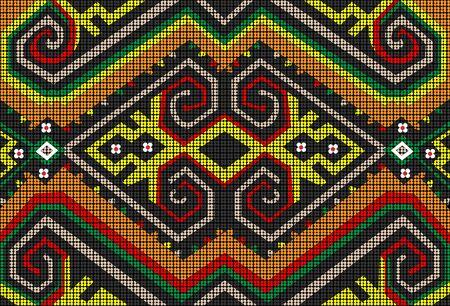 Las cuentas de Sarawak están cuidadosamente hechas a mano y diseñadas por la tribu Dayak del Borneo malasio. Agregue un toque de color y personalidad con el vibrante motivo tribal. Ilustración de vector