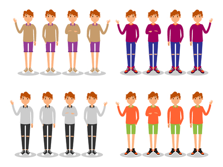 young men fashion with basic color t-shirt and sneaker Illustration