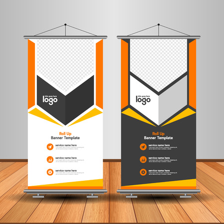 Modern Roll Up Banner. Advertising vector template design. White and black background