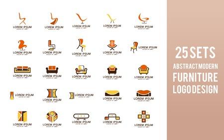 Sets of Furniture logo design. Modern interior symbol design