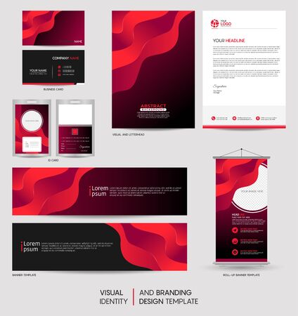 Modern colorful stationery mock up set and visual brand identity with abstract colorful dynamic background shape. Vector illustration mock up for branding, cover, card, product, event, banner, website.