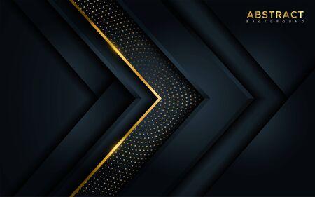 Fond sombre de luxe abstrait avec des lignes dorées et des combinaisons de points dorés brillants circulaires. Superposer l'arrière-plan moderne