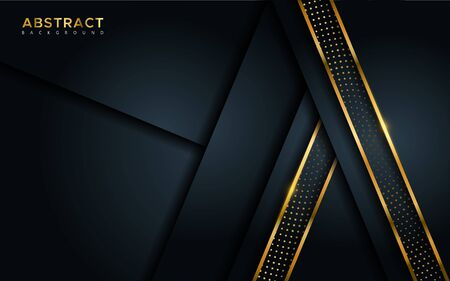 Abstract luxury dark background with golden lines and circular glowing golden dots combinations. Overlap modern background