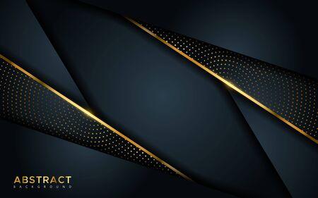 Fondo oscuro de lujo abstracto con líneas doradas y combinaciones circulares de puntos dorados brillantes. Superposición de fondo moderno