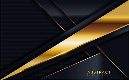 Abstract luxury dark background with golden lines combinations. Overlap modern background Ilustração