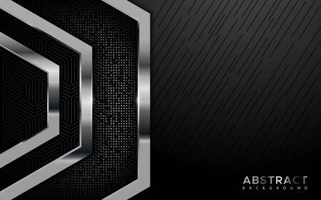 Modern shine silver overlap layer background. abstract geometric shape background Ilustração