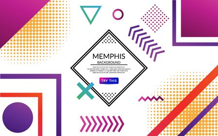 Abstract white memphis background design isolated with square,circle,arrow,triangle,dot for banner, poster, flyer, book design, website backgrounds or advertising. Editable vector