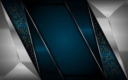 luxurious dark navy background with silver lines. elegant modern background. eps vector Vektorgrafik