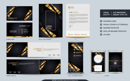 Luxury black gold stationery mock up set and visual brand identity with abstract overlap layers background . Vector illustration mock up for branding, cover, card, product, event, banner, website. Çizim