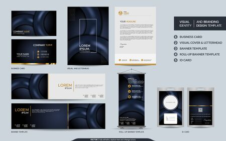 Luxury dark navy stationery mock up set and visual brand identity with abstract overlap layers background . Vector illustration mock up for branding, cover, card, product, event, banner, website.