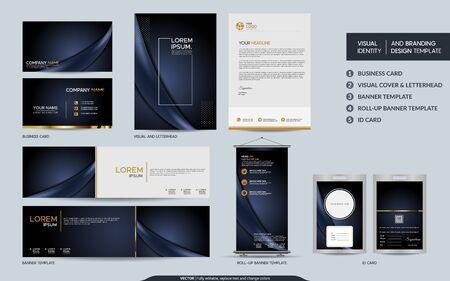 Luxe donkerblauw briefpapier mock-up set en visuele merkidentiteit met abstracte overlappende lagen achtergrond. Vectorillustratie mock up voor branding, dekking, kaart, product, evenement, banner, website. Vector Illustratie