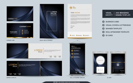 Luxury dark navy stationery mock up set and visual brand identity with abstract overlap layers background . Vector illustration mock up for branding, cover, card, product, event, banner, website. Vektorové ilustrace