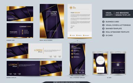 Luxury purple stationery mock up set and visual brand identity with abstract overlap layers background . Vector illustration mock up for branding, cover, card, product, event, banner, website. Ilustração