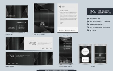 Modern dark metal stationery mock up set and visual brand identity with abstract overlap layers background . Vector illustration mock up for branding, cover, card, product, event, banner, website. Ilustração