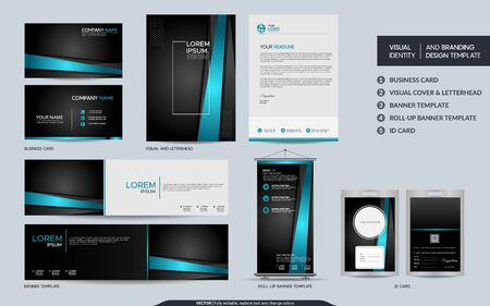 Modern blue black stationery mock up set and visual brand identity with abstract overlap layers background . Vector illustration mock up for branding, cover, card, product, event, banner, website. Ilustração