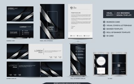 Luxury black silver stationery mock up set and visual brand identity with abstract overlap layers background . Vector illustration mock up for branding, cover, card, product, event, banner, website.