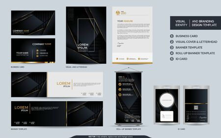 Luxury black gold stationery mock up set and visual brand identity with abstract overlap layers background . Vector illustration mock up for branding, cover, card, product, event, banner, website. Stock Illustratie