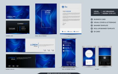 Modern blue stationery mock up set and visual brand identity with abstract colorful dynamic background shape. Vector illustration mock up for branding, cover, card, product, event, banner, website.