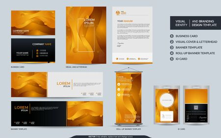 Modern yellow stationery mock up set and visual brand identity with abstract colorful dynamic background shape. Vector illustration mock up for branding, cover, card, product, event, banner, website. Ilustração