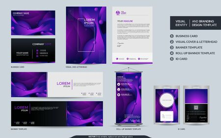 Modern purple stationery mock up set and visual brand identity with abstract colorful dynamic background shape. Vector illustration mock up for branding, cover, card, product, event, banner, website.