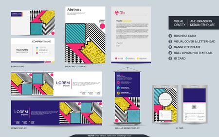 Modern stationery mock up set and visual brand identity with abstract colorful geometry background shape. Vector illustration mock up for branding, cover, card, product, event, banner, website.