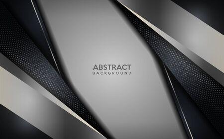 Glowing silver modern dark background with circular dots element. Luxury abstract background. Ilustração