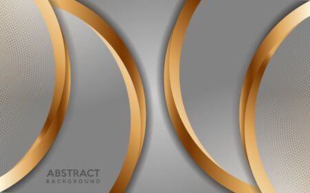 Luxurious white background with golden lines and circular glowing golden dots combinations. Overlap modern background