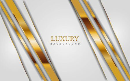 Luxury white background combine with golden lines. Graphic design template Ilustracja