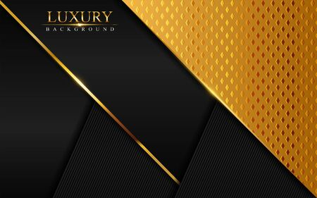 Luxury black abstract background combine with golden textured overlap layer. Modern background design