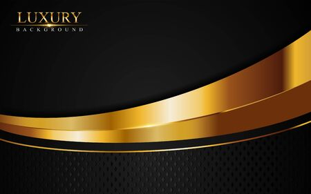 Luxury black background combine with glowing golden lines. Overlap layer textured background design