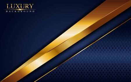 Luxury navy blue background combine with glowing golden lines. Overlap layer textured background design Ilustracja