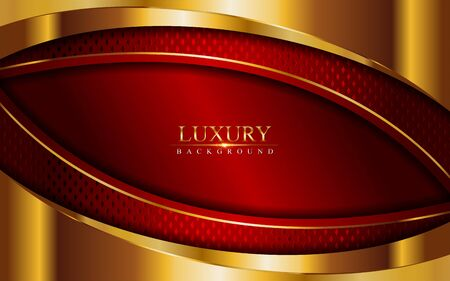 Luxury red background combine with glowing golden lines. Overlap layer textured background design Ilustracja
