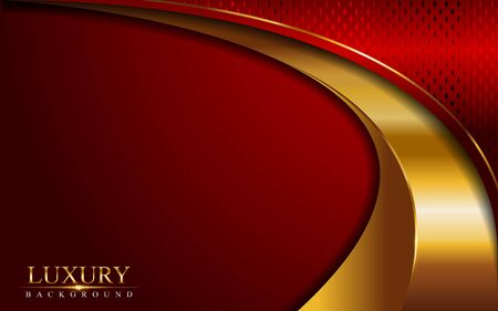 Luxury red background combine with glowing golden lines. Overlap layer textured background design