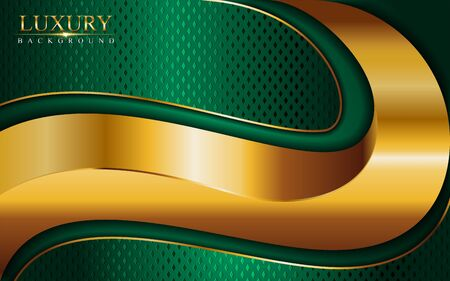 Luxury green background combine with glowing golden lines. Overlap layer textured background design