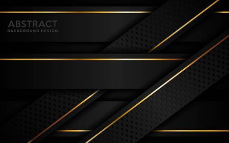 Abstract dark background with golden lines. Modern creative background designs template Ilustracja