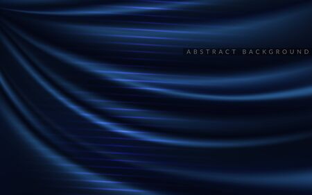 Dynamic silk smooth navy blue background. Abstract realistic background design. Background template design Ilustracja