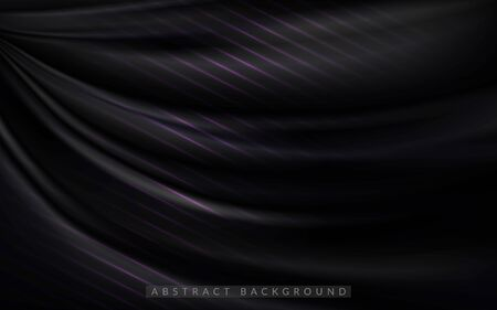 Dynamic silk smooth dark background. Abstract realistic background design. Background template design Ilustracja
