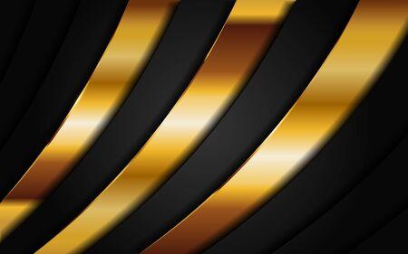 Abstract dark black geometry background combine with golden line. Modern background design