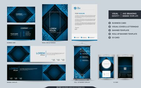 Modern blue stationery mock up and visual brand identity set. Vector illustration mock up for branding, background, cover, card, product, event, banner, website. Vettoriali