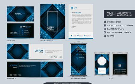 Modern blue stationery mock up and visual brand identity set. Vector illustration mock up for branding, background, cover, card, product, event, banner, website. Vektoros illusztráció