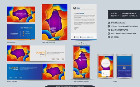 Colorful stationery mock up and visual brand identity set. Vector illustration mock up for branding, background, cover, card, product, event, banner, website.