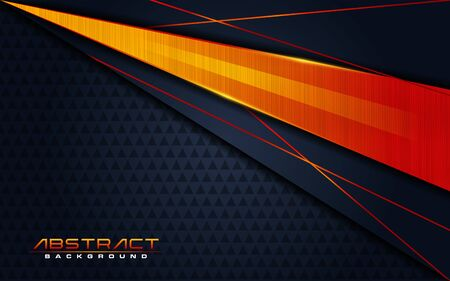 Modern dark navy background and orange lines in 3d abstract style. Futuristic background vector illustration.