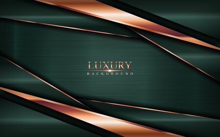 Luxury dark green background combine with golden bronze lines. Vector graphic illustration