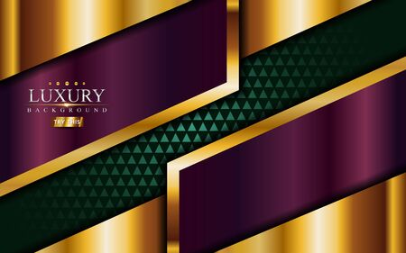 Purple and green with golden lines luxury background design. Vector graphic illustration