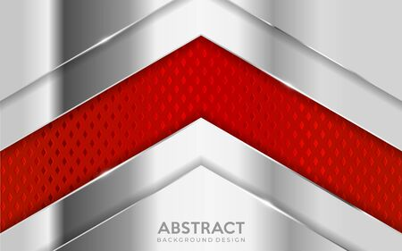 Shinny metal silver background combine with red textured overlap layer. Abstract background design. Vector graphic illustration