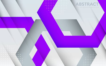 Modern white with abstract purple hexagon futuristic background design. Vector graphic illustration