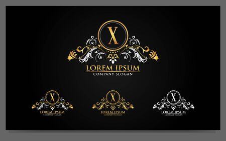 Luxury alphabets logo with golden badges design template. Vector graphic illustration Logos